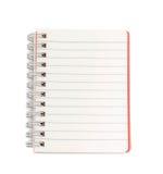 Spatie gevoerd notitieboekje op witte achtergrond Stock Foto