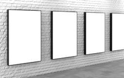 Spatie lightboxes op witte bakstenen muur Royalty-vrije Stock Fotografie