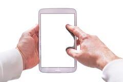 Spatie touchpad in handen Stock Afbeeldingen