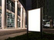 Spatie verlichte banner bij schemering naast commercieel centrum het 3d teruggeven stock illustratie