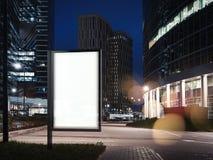 Spatie verlichte banner dichtbij aan wolkenkrabbers en parkeren het 3d teruggeven Royalty-vrije Stock Fotografie
