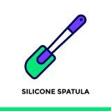 SPATOLA del SILICONE lineare dell'icona del forno, cucinante Pictogra di vettore Fotografie Stock Libere da Diritti