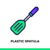 SPATOLA DI PLASTICA dell'icona lineare del forno, cucinante Pittogramma di vettore Fotografia Stock