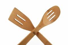 Spatola e cucchiaio di bambù Fotografia Stock Libera da Diritti