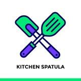 Spatola lineare della cucina dell'icona del forno, cucinante Pittogramma dentro fuori Fotografia Stock Libera da Diritti