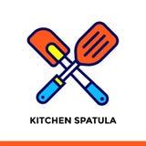 Spatola lineare della cucina dell'icona del forno, cucinante Pittogramma nello stile del profilo Adatto a apps, a siti Web ed a m Fotografia Stock Libera da Diritti
