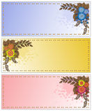 Spattered cards with flowers Stock Image