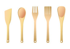 spatula κουζινών δικράνων ξύλινο Στοκ εικόνα με δικαίωμα ελεύθερης χρήσης