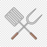 Spatula and barbeque fork icon, cartoon style. Spatula and barbeque fork icon. Cartoon illustration of spatula and barbeque fork vector icon for web royalty free illustration