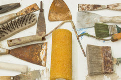 Spatulas. Lot of old painter tools Royalty Free Stock Image