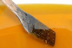 Spatule en bois en miel liquide frais photo stock