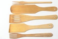 Spatules en bois et fourchettes d'isolement Photos libres de droits