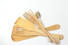 Spatules en bois et fourchettes d'isolement Image libre de droits