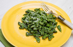 Spatzle dumplings green pasta from south tyro Royalty Free Stock Photos