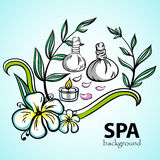 SpaVector2. Spa and wellness. Hand-drawn background. Vector illustration. 10EPS Stock Image