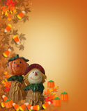 Spaventapasseri della zucca del bordo di Halloween Immagine Stock Libera da Diritti