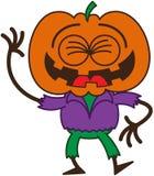 Spaventapasseri divertente di Halloween che ride entusiasta Immagini Stock