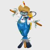 Spaventapasseri in vestito ed attrezzatura per l'immersione blu illustrazione vettoriale