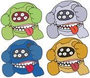 Spaventoso divertente dell'insieme di tiraggio della mano del mostro di scarabocchio di colore dell'orso del fumetto della stampa illustrazione vettoriale