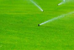 Spaying νερό ψεκαστήρων χορτοταπήτων πέρα από την πράσινη χλόη Σύστημα άρδευσης Στοκ Εικόνες