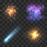 Spazi gli oggetti dell'universo, la cometa, la meteora, esplosione delle stelle sul fondo a quadretti di trasparenza illustrazione di stock