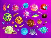 Spazi i pianeti, l'asteroide, la luna, icone fantastiche del fumetto di vettore del gioco di mondo Asteroide di colore e pianeta, royalty illustrazione gratis