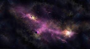 Spazi Iillustration, con la nebulosa, la nebbia e le stelle Immagini Stock Libere da Diritti