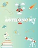 Spazi il manifesto con l'insieme delle icone saettano in alto, pianeta, il telescopio, cometa del microscopio Fotografia Stock