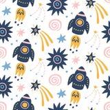 Spazi il modello senza cuciture puerile della galassia con le astronavi, le stelle, elementi cosmici illustrazione di stock