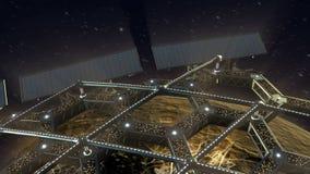 Spazi l'animazione di una struttura di favo girante intorno ad un pianeta illustrazione di stock