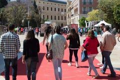 Spaziergang entlang dem roten Teppich lizenzfreie stockfotografie