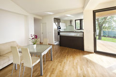Spazio aperto della cucina al nuovo interno della casa della famiglia Immagine Stock