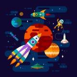 Spazio, astronave, astronauta e pianeti immagine stock libera da diritti