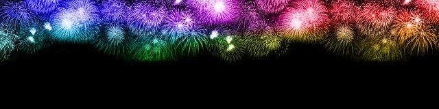 Spazio b della copia del copyspace del fondo dei fuochi d'artificio di notte di San Silvestro grande fotografia stock