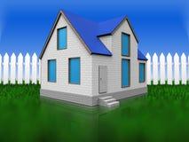 spazio in bianco 3d sopra erba ed il recinto illustrazione vettoriale
