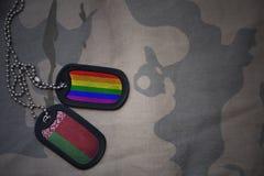 spazio in bianco dell'esercito, medaglietta per cani con la bandiera della Bielorussia e la bandiera gay dell'arcobaleno sui prec Fotografia Stock Libera da Diritti