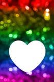 Spazio in bianco della cartolina d'auguri con il fondo del bokeh dell'arcobaleno Immagini Stock Libere da Diritti