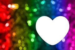 Spazio in bianco della cartolina d'auguri con il fondo del bokeh dell'arcobaleno Fotografia Stock Libera da Diritti