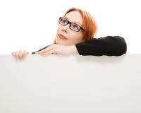 Spazio in bianco della holding della donna di affari Fotografia Stock