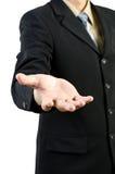 Spazio in bianco della holding della mano dell'uomo d'affari Immagini Stock Libere da Diritti