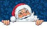 Spazio in bianco della tenuta di Santa Claus del fumetto, bordo vuoto con il posto per testo Illustrazione disegnata a mano di ve illustrazione vettoriale