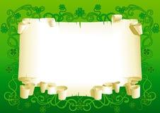 Spazio in bianco di vecchio documento per il giorno della st Patricks Fotografia Stock Libera da Diritti