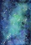 Spazio blu del fondo con la Via Lattea Fotografia Stock