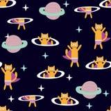 Spazio Cat Hero Modello con un gatto volante nello spazio, pianeti, razzo, stelle illustrazione vettoriale