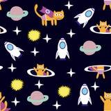 Spazio Cat Hero Modello con un gatto volante nello spazio, pianeti, razzo, stelle illustrazione di stock