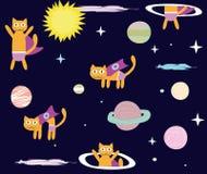 Spazio Cat Hero Raccolta un gatto volante nello spazio, pianeti, razzo, stelle illustrazione di stock