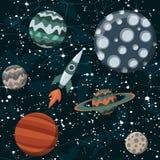 Spazio comico con i pianeti e le astronavi Fumetto di Rocket, stella e progettazione di scienza royalty illustrazione gratis