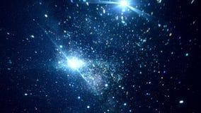 Spazio cosmico astratto con le stelle luminose animazione Muovendosi fra le stelle scintillanti luminose nello spazio cosmico di  illustrazione di stock