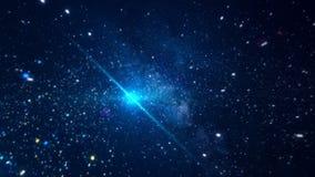 Spazio cosmico astratto con le stelle luminose animazione Muovendosi fra le stelle scintillanti luminose nello spazio cosmico di  illustrazione vettoriale