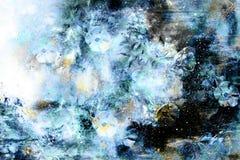 Spazio cosmico con i fiori, fondo della galassia di colore, collage del computer royalty illustrazione gratis